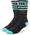 Neff Promo Black & Teal Crew Socks