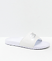 Nike Benassi White & Metallic Silver Slide Sandals