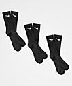 Nike SB Everyday Lightweight 3 Pack Black Crew Socks