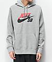 Nike SB Icon Grey, Red & Black Hoodie