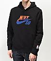 Nike SB Icon sudadera con capucha negra, naranja y azul