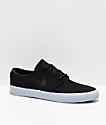 Nike SB Janoski Black & Light Armory Grey Canvas Skate Shoes
