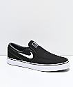 Nike SB Janoski Black & White Canvas Slip-On Skate Shoes