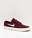 Nike SB Janoski Maroon & White Canvas Skate Shoes