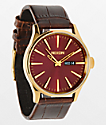 Nixon Sentry Leather reloj analógico marrón