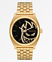 Nixon x Spitfire Time Teller Gold Fireball Analog Watch