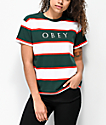 Obey Acid Box Green & Red Strip T-Shirt