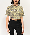 Obey Novel Yellow Leopard Printed Crop T-Shirt