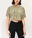 Obey Novel camiseta corta amarilla con estampado de leopardo
