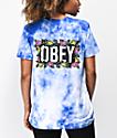 Obey Rose Brights camiseta tie dye cobalto