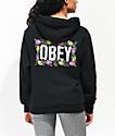 Obey Rose Brights sudadera con capucha negra