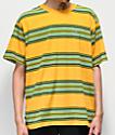 Obey Route camiseta amarilla y verde de rayas