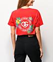 Obey camiseta roja con gráfico floral