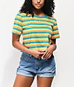 Odd Future Logo Teal, Gold & Orange Stripe Crop T-Shirt