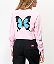 Petals and Peacocks Crazy Beautiful Butterfly camiseta rosa de manga larga