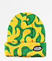 Petals and Peacocks Flame Yellow Beanie