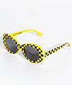 Petals and Peacocks Nevermind gafas de sol de cuadros amarillos
