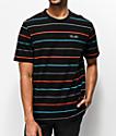 Primitive Black Washed Striped Pique T-Shirt