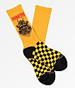 Primitive Samurai calcetines de cuadros amarillos y negros