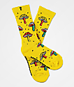 Psockadelic Fungi Yellow Crew Socks