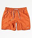 RVCA Gerrard shorts de baño anaranjados con cintura elástica