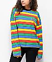 Ragged Jeans Rainbow Striped Long Sleeve T-Shirt