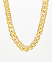 "Saint Midas 18mm CZ Cuban Link 22"" Yellow Gold Chain Necklace"