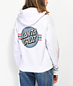 Santa Cruz Banner Dot sudadera con capucha blanca