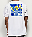 Santa Cruz Checkered & Striped camiseta blanca, amarilla y azul