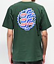 Santa Cruz Checkered OG Script camiseta verde oscuro