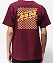 Santa Cruz Checkered Strip camiseta borgoña