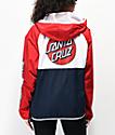 Santa Cruz Dot chaqueta cortavientos roja, blanca y azul
