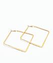 Stone + Locket Gold Square Hoop Earrings