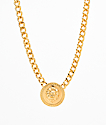 Stone + Locket Lion Medallion Necklace