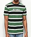 Teenage Bored camiseta negra, verde y blanca de rayas