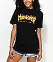 Thrasher Flame Logo Black Boyfriend Fit T-Shirt