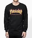 Thrasher Flame Logo Black Long Sleeve T-Shirt