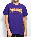 Thrasher Flame Logo Purple T-Shirt