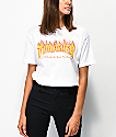 Thrasher Flame Logo White Boyfriend Fit T-Shirt