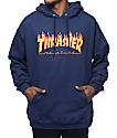 Thrasher Flame Logo sudadera con capucha en azul marino