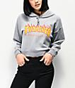 Thrasher Flame Logo sudadera corta con capucha gris