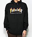 Thrasher Flame Magazine sudadera negra con capucha