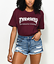 Thrasher Skate Mag Burgundy Boyfriend Fit T-Shirt