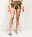 Tinseltown shorts de cintura alta de color oliva