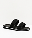 Trillium Black & White 2 Strap Slide Sandals