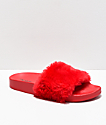 Trillium Red Fur Slide Sandals
