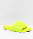 Trillium Yellow Fur Slide Sandals