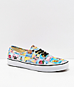 Vans Authentic Los Loteria Blue, Yellow & White Skate Shoes