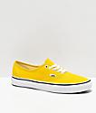 Vans Authentic zapatos de skate de color amarillo brillante