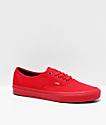 Vans Authentic zapatos de skate rojos y negros